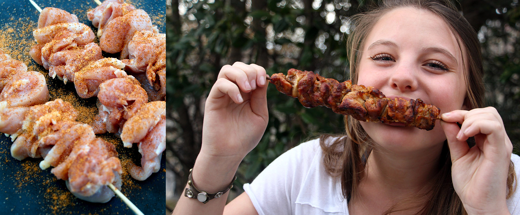 Photo of skewered, boneless chicken thighs seasoned with JK's Seasoning and photo of girl eating chicken from skewer.